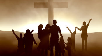 Silhouettes of family and people at the Cross of Jesus Christ. High-resolution 3D.